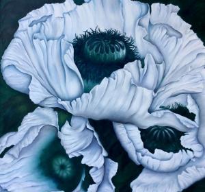 Weiße Mohnblumen→